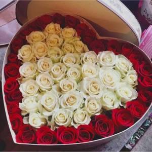51 белая и красная роза в виде сердца R844