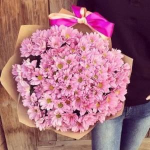 Букет 19 веток розовой хризантемы R1126