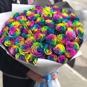 Букет 51 радужная роза с лентами R812