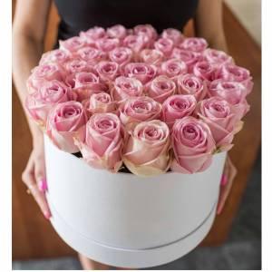 51 нежная розовая роза в шляпной коробке R381