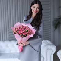 Букет 19 розовых кустовых роз R398