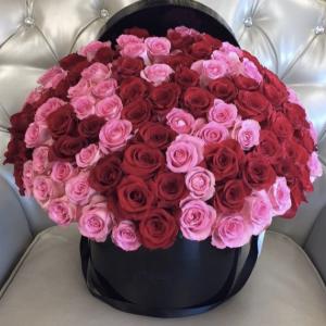 Композиция 101 роза красные и розовые розы в коробке R85