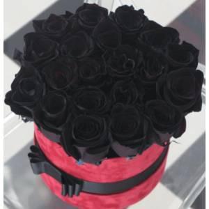 19 черных роз в коробке R828