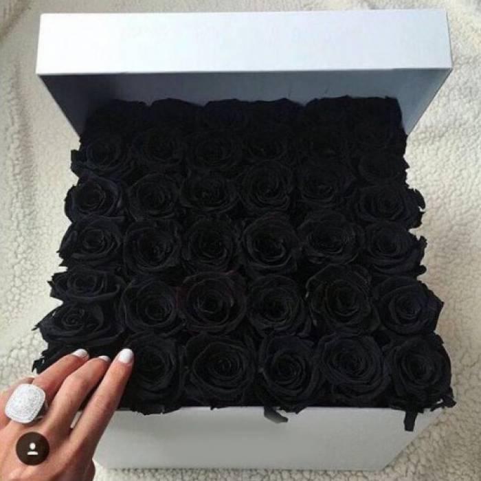 39 черных роз в коробке R824